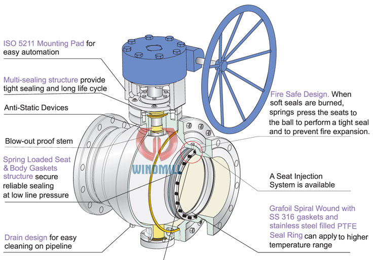 Design features of trunnion ball valve
