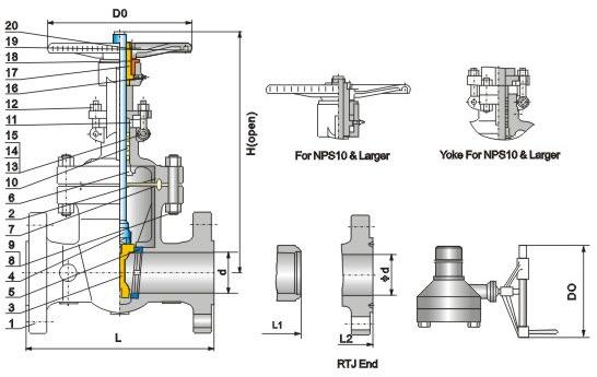 gate valve diagram with parts